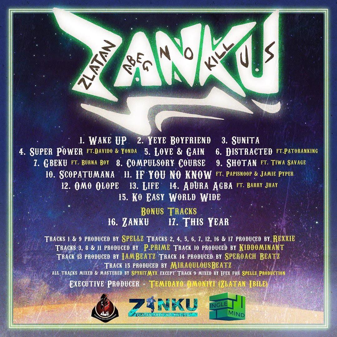 Zanku Tracklist