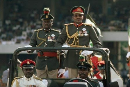 Major General , Muhammadu Buhari giving his first speech in 1983