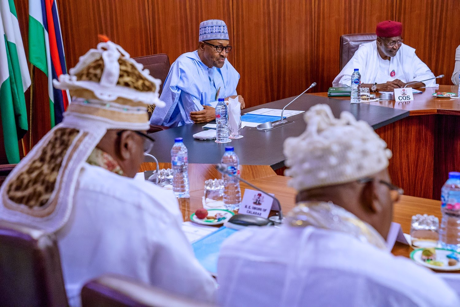 President Muhammadu Buhari in a meeting at the villa (Presidency)