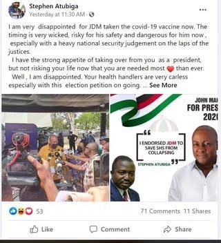 "IZUk9kpTURBXy8zY2NhYWIxNzEwYjVlOTgyMjU4YTU0ODZiMTIyZTk1My5qcGeRlQLNAUAAw8OCoTAFoTEB - ""I'm disappointed in Mahama for taking covid-19 vaccine as election petition is ongoing"" - Atubiga"