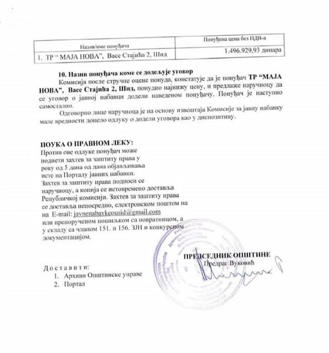 """Iz dokumentacije dostavljene na tender vidi se da je godišnji prihod prodavnice """"Maja Nova"""" u poslednje tri godine oko 30.000 dinara"""