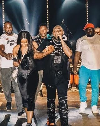 Davido performs on stage with Chioma